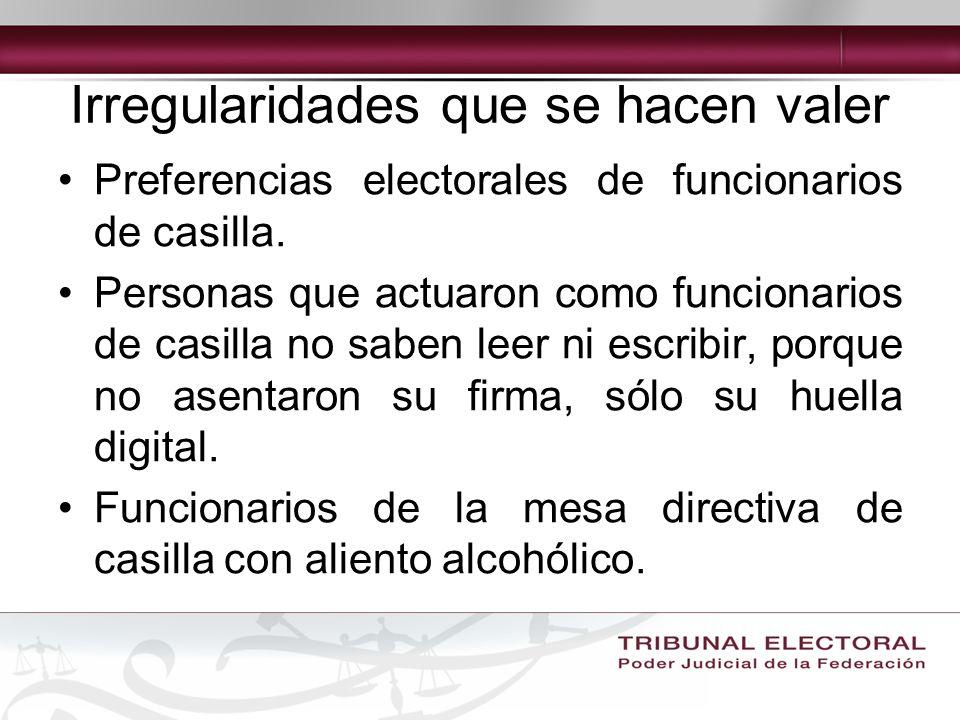 Irregularidades que se hacen valer Preferencias electorales de funcionarios de casilla.