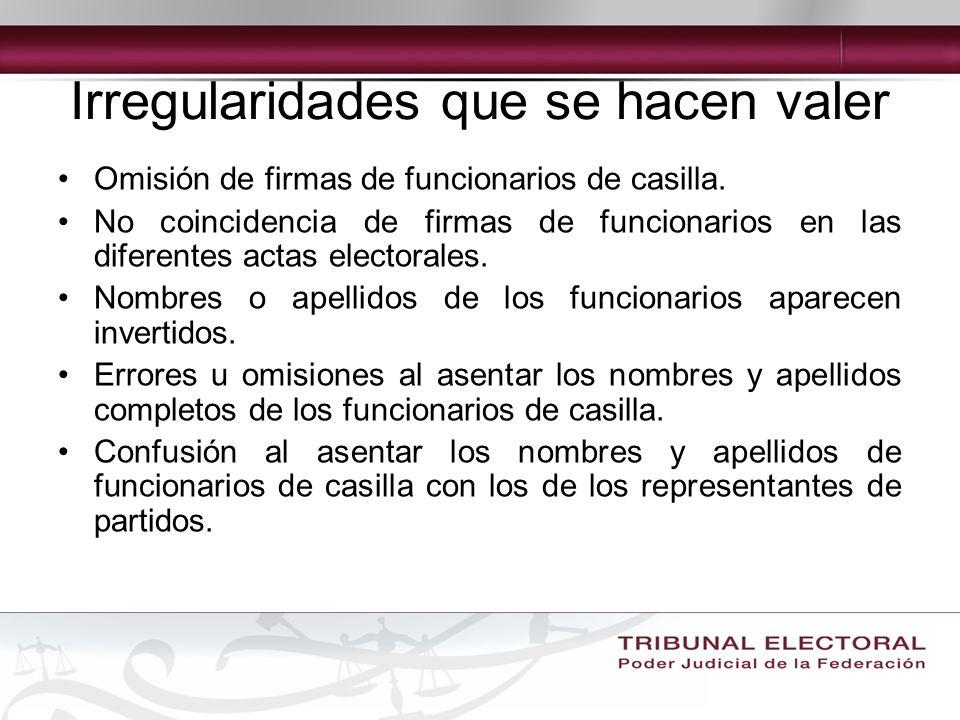Irregularidades que se hacen valer Omisión de firmas de funcionarios de casilla.