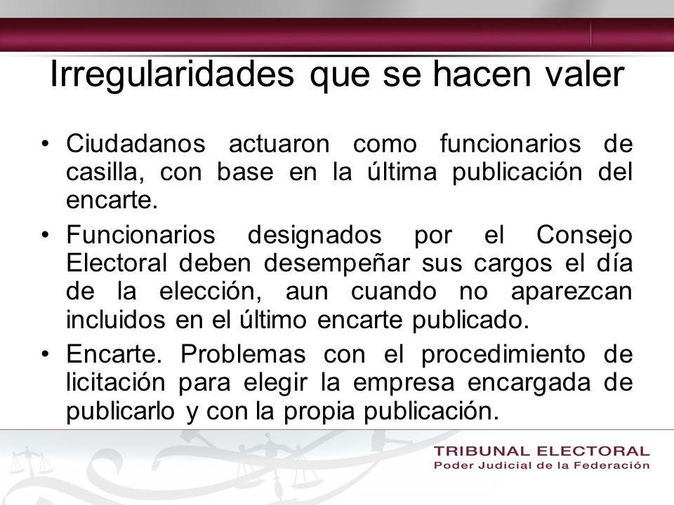 Irregularidades que se hacen valer Ciudadanos actuaron como funcionarios de casilla, con base en la última publicación del encarte.