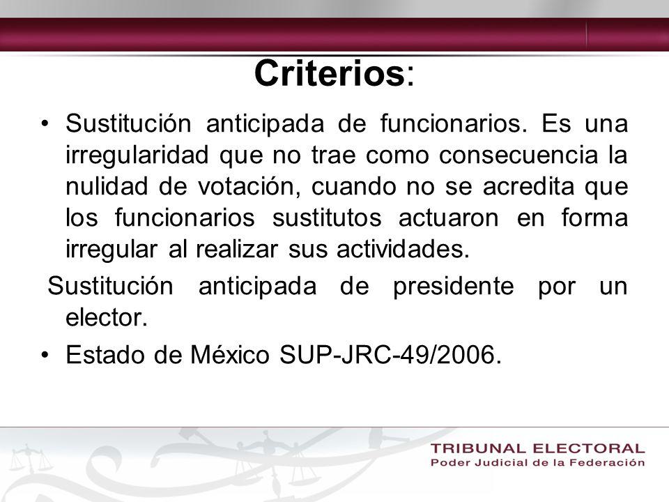 Criterios: Sustitución anticipada de funcionarios.