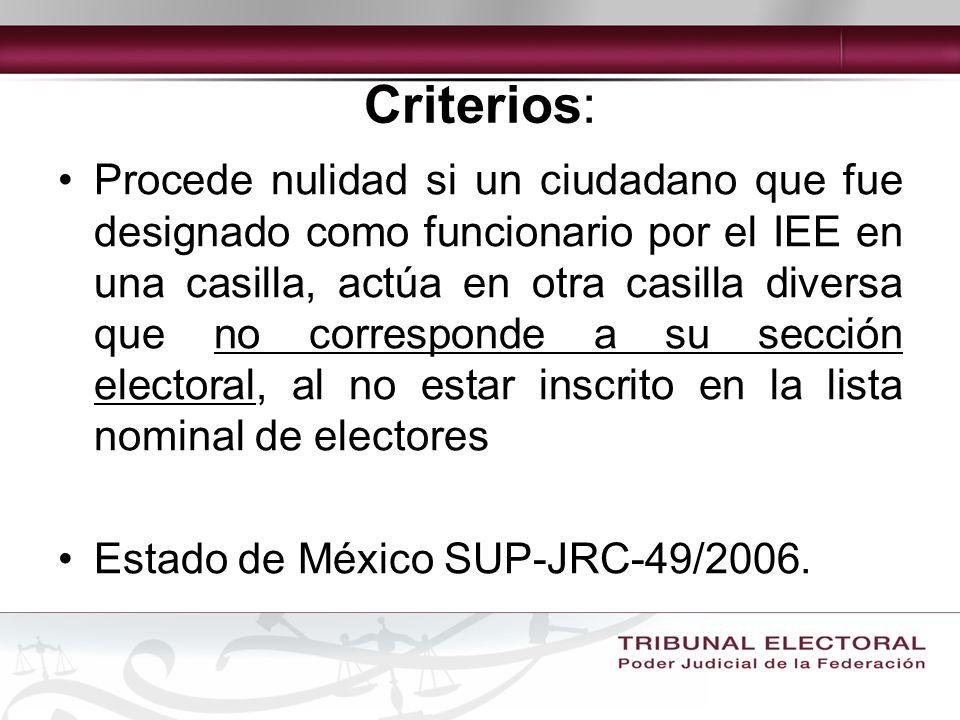 Criterios: Procede nulidad si un ciudadano que fue designado como funcionario por el IEE en una casilla, actúa en otra casilla diversa que no corresponde a su sección electoral, al no estar inscrito en la lista nominal de electores Estado de México SUP-JRC-49/2006.
