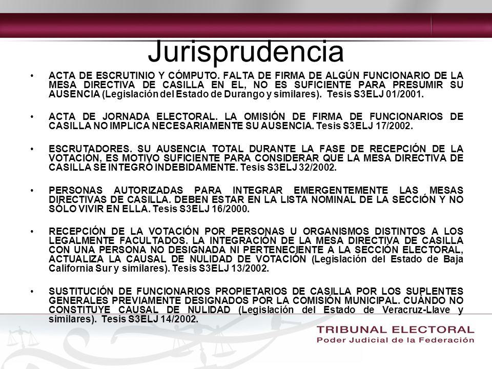 Jurisprudencia ACTA DE ESCRUTINIO Y CÓMPUTO.
