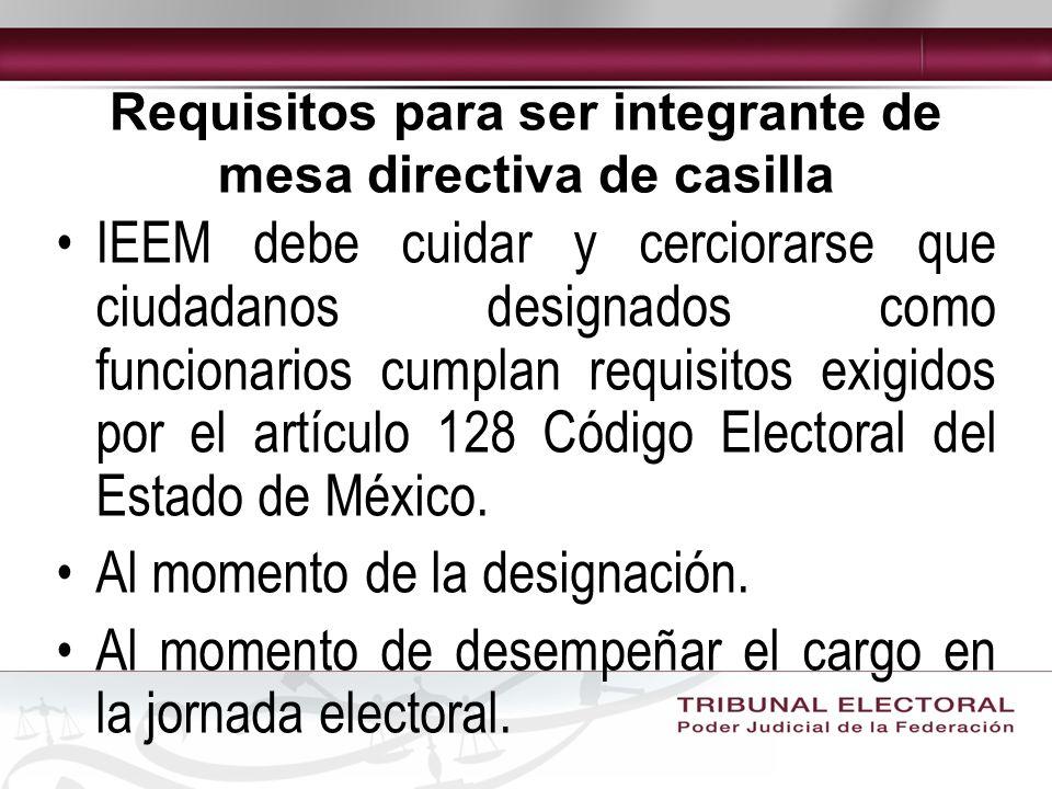 Requisitos para ser integrante de mesa directiva de casilla IEEM debe cuidar y cerciorarse que ciudadanos designados como funcionarios cumplan requisitos exigidos por el artículo 128 Código Electoral del Estado de México.