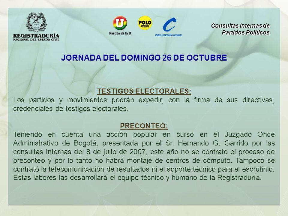 TESTIGOS ELECTORALES: Los partidos y movimientos podrán expedir, con la firma de sus directivas, credenciales de testigos electorales. PRECONTEO: Teni