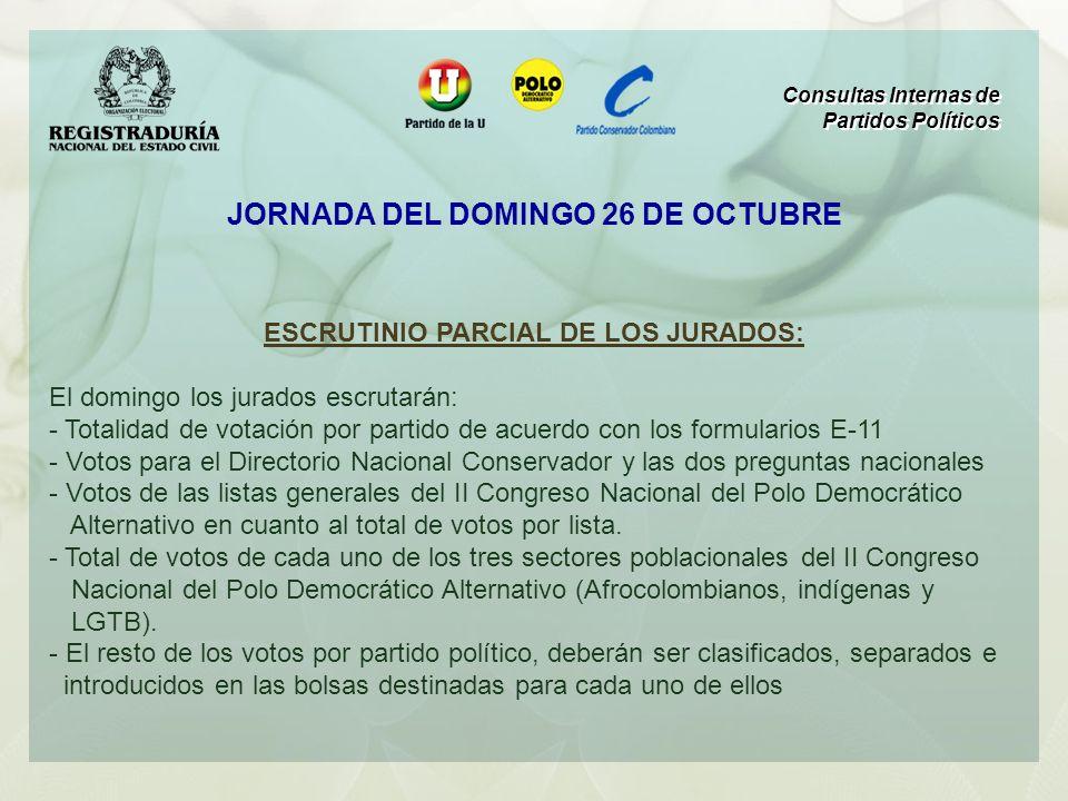 ESCRUTINIO PARCIAL DE LOS JURADOS: El domingo los jurados escrutarán: - Totalidad de votación por partido de acuerdo con los formularios E-11 - Votos