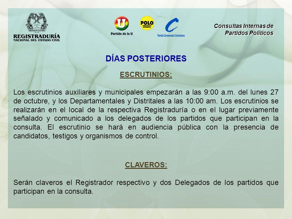 ESCRUTINIOS: Los escrutinios auxiliares y municipales empezarán a las 9:00 a.m. del lunes 27 de octubre, y los Departamentales y Distritales a las 10: