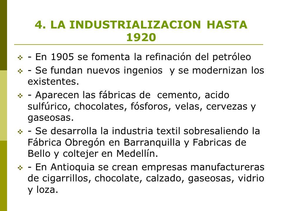 4. LA INDUSTRIALIZACION HASTA 1920 - En 1905 se fomenta la refinación del petróleo - Se fundan nuevos ingenios y se modernizan los existentes. - Apare