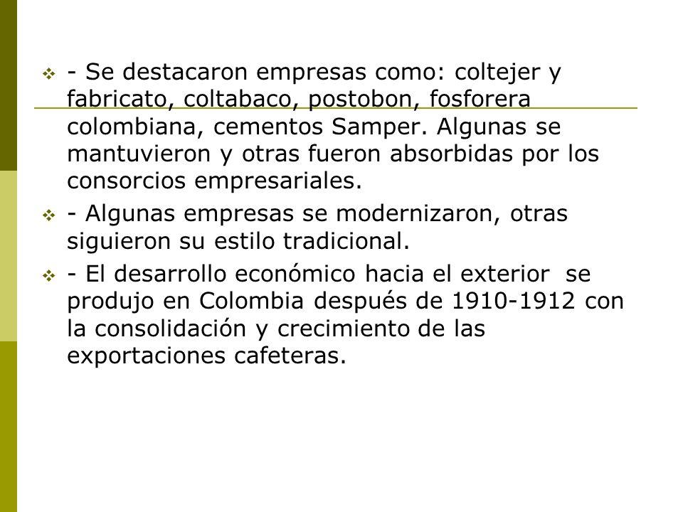 - Se destacaron empresas como: coltejer y fabricato, coltabaco, postobon, fosforera colombiana, cementos Samper. Algunas se mantuvieron y otras fueron
