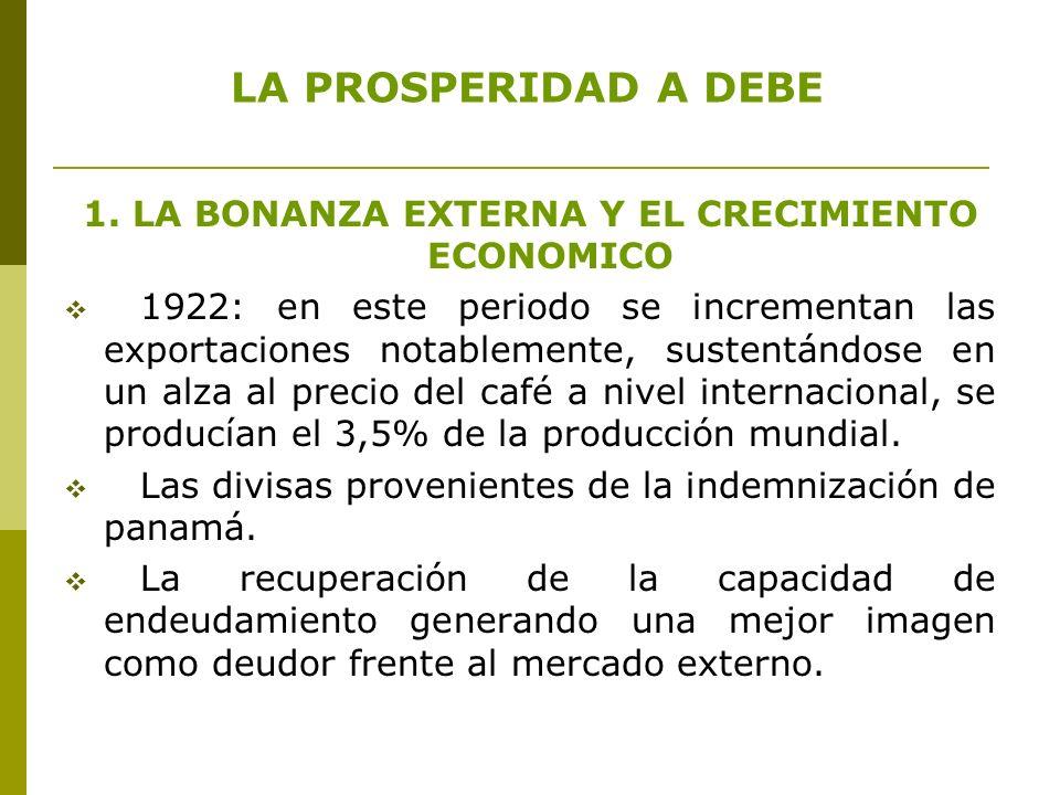 LA PROSPERIDAD A DEBE 1. LA BONANZA EXTERNA Y EL CRECIMIENTO ECONOMICO 1922: en este periodo se incrementan las exportaciones notablemente, sustentánd