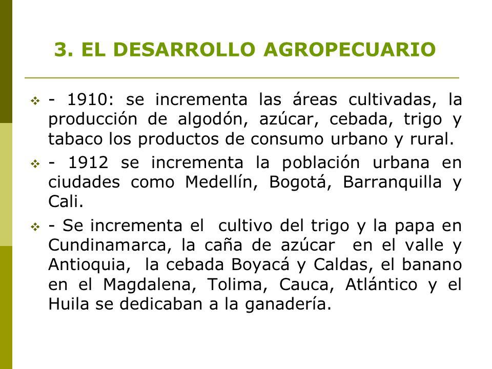 - 1910: se incrementa las áreas cultivadas, la producción de algodón, azúcar, cebada, trigo y tabaco los productos de consumo urbano y rural. - 1912 s