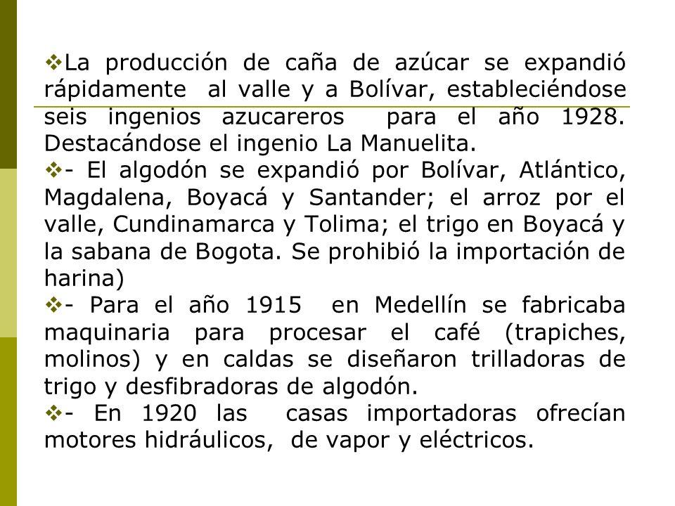 La producción de caña de azúcar se expandió rápidamente al valle y a Bolívar, estableciéndose seis ingenios azucareros para el año 1928. Destacándose