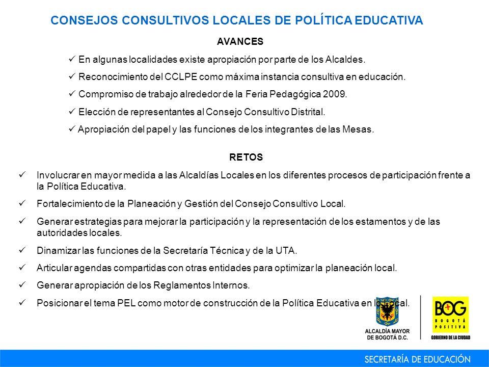 CONSEJOS CONSULTIVOS LOCALES DE POLÍTICA EDUCATIVA AVANCES En algunas localidades existe apropiación por parte de los Alcaldes.