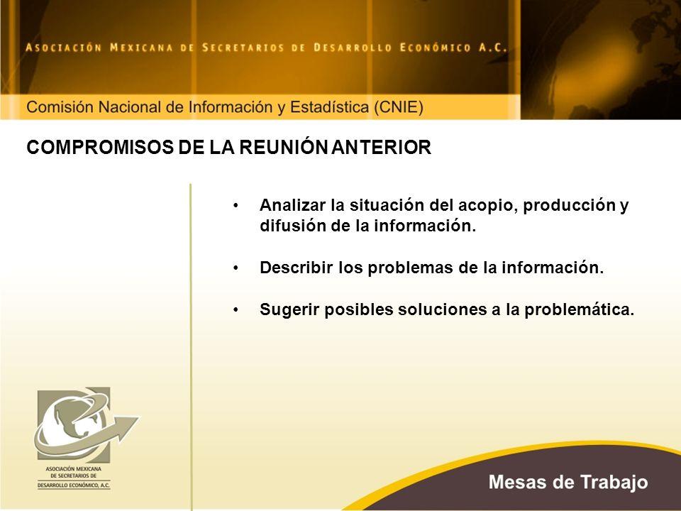 COMPROMISOS DE LA REUNIÓN ANTERIOR Analizar la situación del acopio, producción y difusión de la información.
