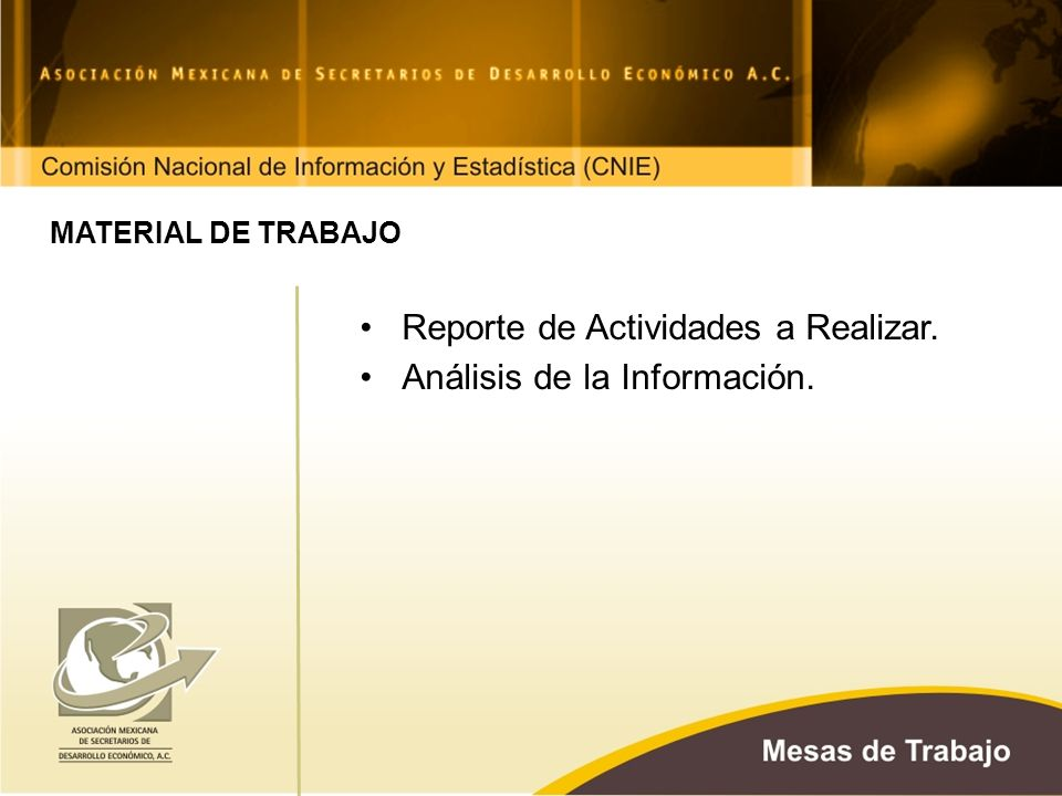 MATERIAL DE TRABAJO Reporte de Actividades a Realizar. Análisis de la Información.