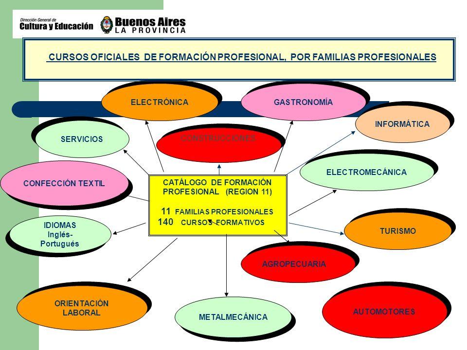 CATÁLOGO DE FORMACIÓN PROFESIONAL (REGION 11) 11 FAMILIAS PROFESIONALES 140 CURSOS FORMATIVOS CONSTRUCCIONES ELECTROMECÁNICA ORIENTACIÓN LABORAL METAL