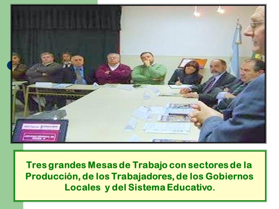 Tres grandes Mesas de Trabajo con sectores de la Producción, de los Trabajadores, de los Gobiernos Locales y del Sistema Educativo.
