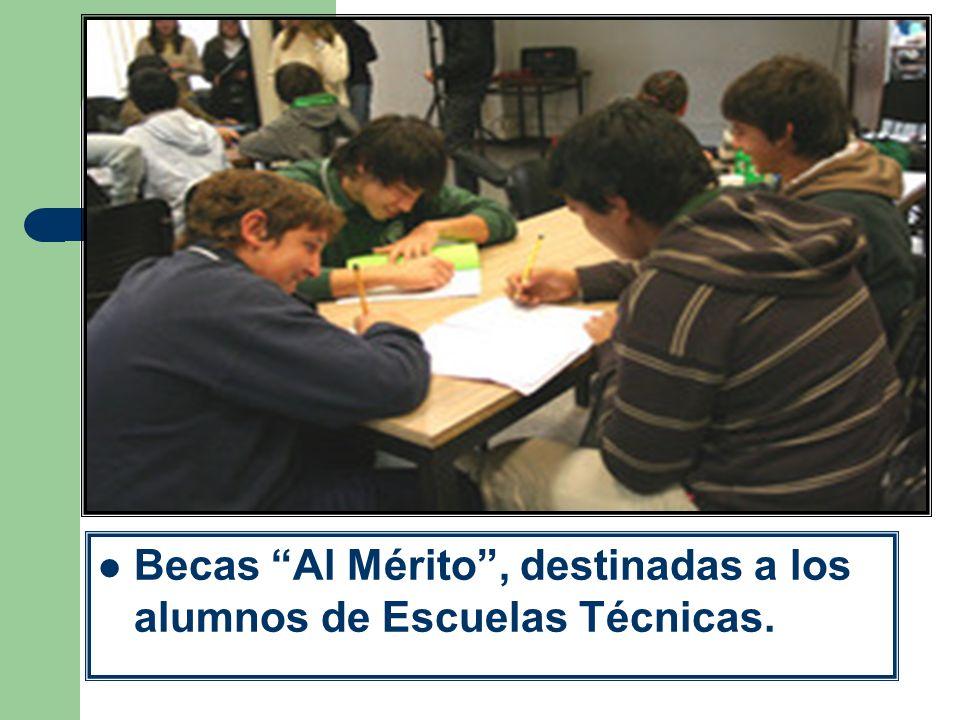 Becas Al Mérito, destinadas a los alumnos de Escuelas Técnicas.