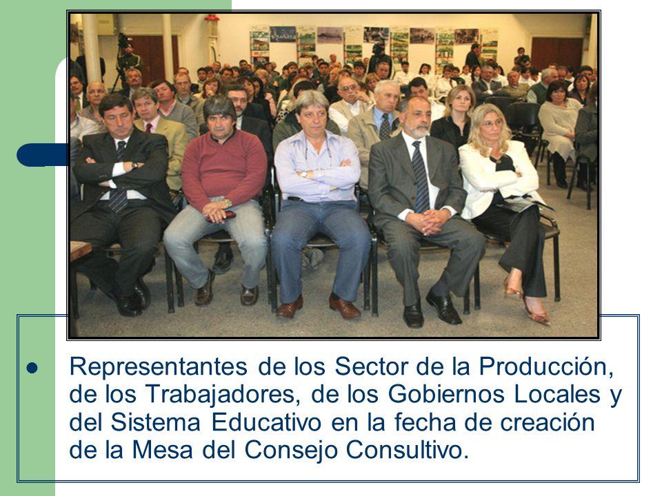 Representantes de los Sector de la Producción, de los Trabajadores, de los Gobiernos Locales y del Sistema Educativo en la fecha de creación de la Mes