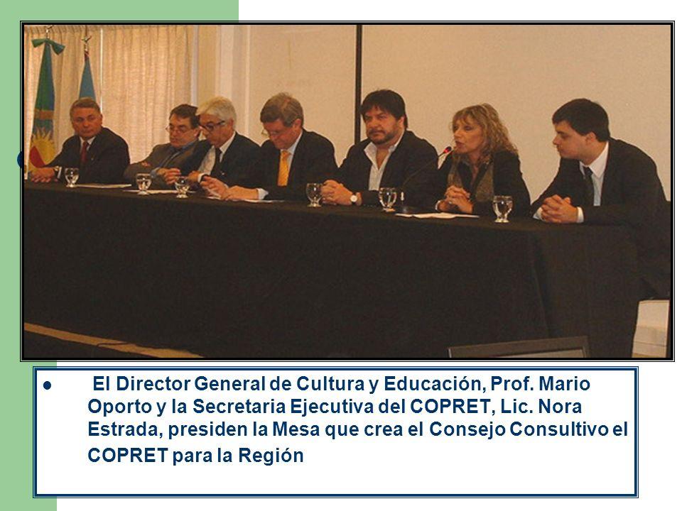 El Director General de Cultura y Educación, Prof. Mario Oporto y la Secretaria Ejecutiva del COPRET, Lic. Nora Estrada, presiden la Mesa que crea el C