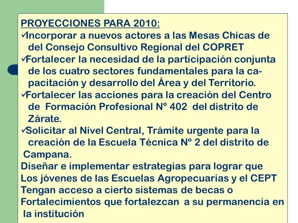 PROYECCIONES PARA 2010: Incorporar a nuevos actores a las Mesas Chicas de del Consejo Consultivo Regional del COPRET Fortalecer la necesidad de la par