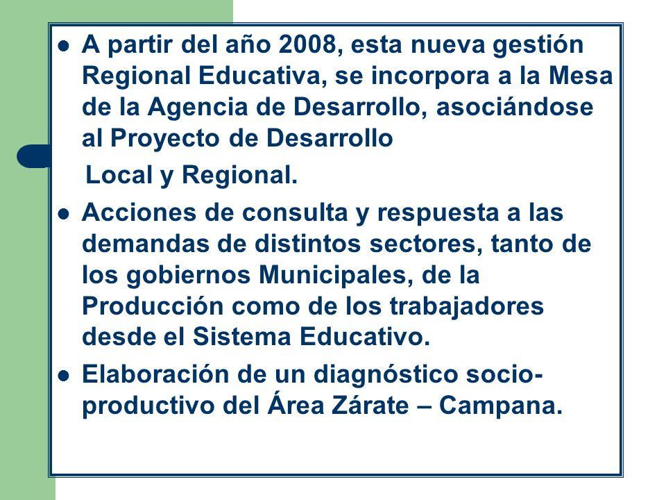 A partir del año 2008, esta nueva gestión Regional Educativa, se incorpora a la Mesa de la Agencia de Desarrollo, asociándose al Proyecto de Desarroll