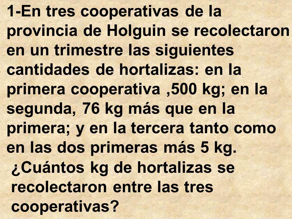 1-En tres cooperativas de la provincia de Holguin se recolectaron en un trimestre las siguientes cantidades de hortalizas: en la primera cooperativa,5