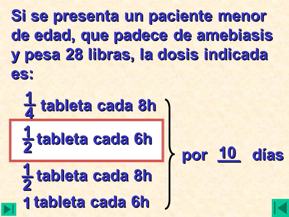 Si se presenta un paciente menor de edad, que padece de amebiasis y pesa 28 libras, la dosis indicada es: tableta cada 8h tableta cada 6h tableta cada