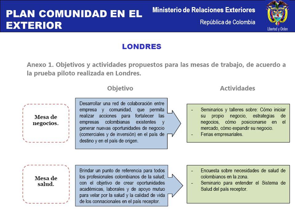 Ministerio de Relaciones Exteriores República de Colombia LONDRES PLAN COMUNIDAD EN EL EXTERIOR