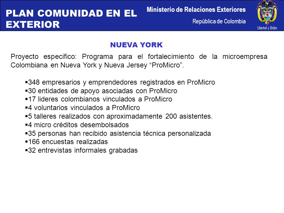 Ministerio de Relaciones Exteriores República de Colombia NUEVA YORK Proyecto especifico: Programa para el fortalecimiento de la microempresa Colombiana en Nueva York y Nueva Jersey ProMicro.
