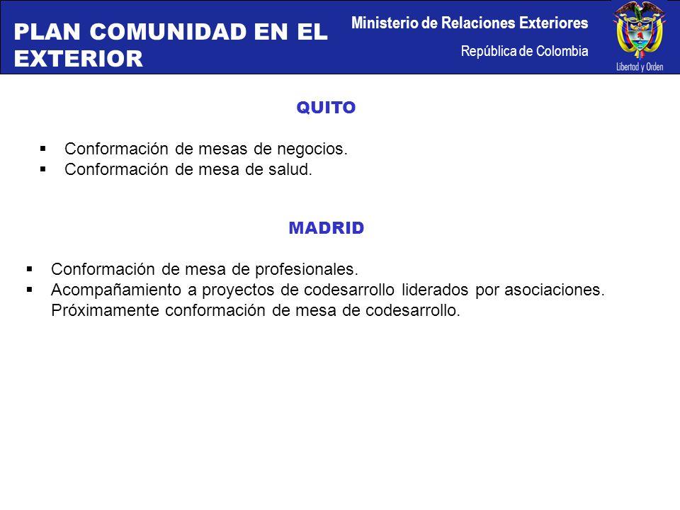 Ministerio de Relaciones Exteriores República de Colombia QUITO Conformación de mesas de negocios.