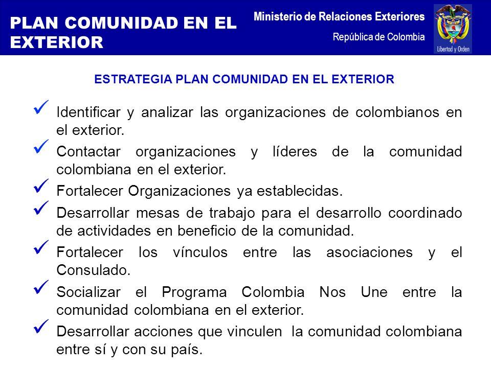 Ministerio de Relaciones Exteriores República de Colombia ESTRATEGIA PLAN COMUNIDAD EN EL EXTERIOR Identificar y analizar las organizaciones de colombianos en el exterior.