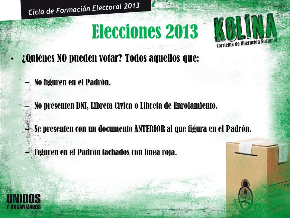 Elecciones 2013 ¿Quiénes NO pueden votar? Todos aquellos que: –No figuren en el Padrón. –No presenten DNI, Libreta Cívica o Libreta de Enrolamiento. –