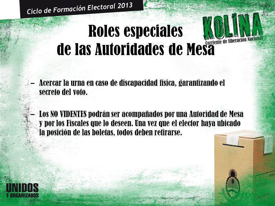 Roles especiales de las Autoridades de Mesa –Acercar la urna en caso de discapacidad física, garantizando el secreto del voto. –Los NO VIDENTES podrán