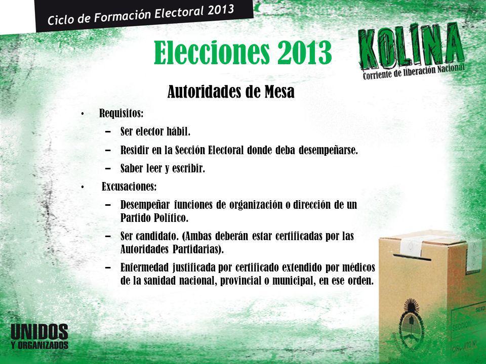 Elecciones 2013 Autoridades de Mesa Requisitos: –Ser elector hábil. –Residir en la Sección Electoral donde deba desempeñarse. –Saber leer y escribir.