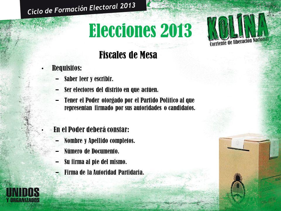 Elecciones 2013 Fiscales de Mesa Requisitos: –Saber leer y escribir. –Ser electores del distrito en que actúen. –Tener el Poder otorgado por el Partid