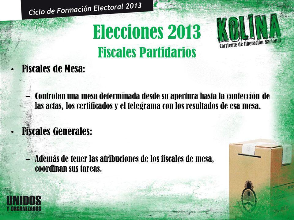 Elecciones 2013 Fiscales de Mesa: –Controlan una mesa determinada desde su apertura hasta la confección de las actas, los certificados y el telegrama con los resultados de esa mesa.