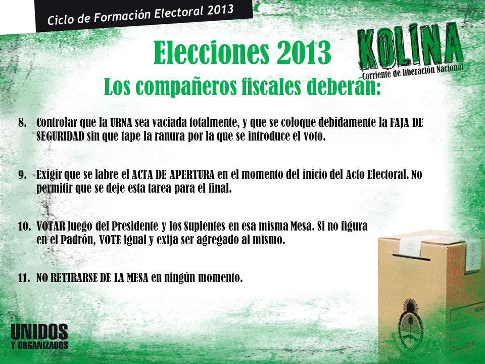 Elecciones 2013 8.Controlar que la URNA sea vaciada totalmente, y que se coloque debidamente la FAJA DE SEGURIDAD sin que tape la ranura por la que se