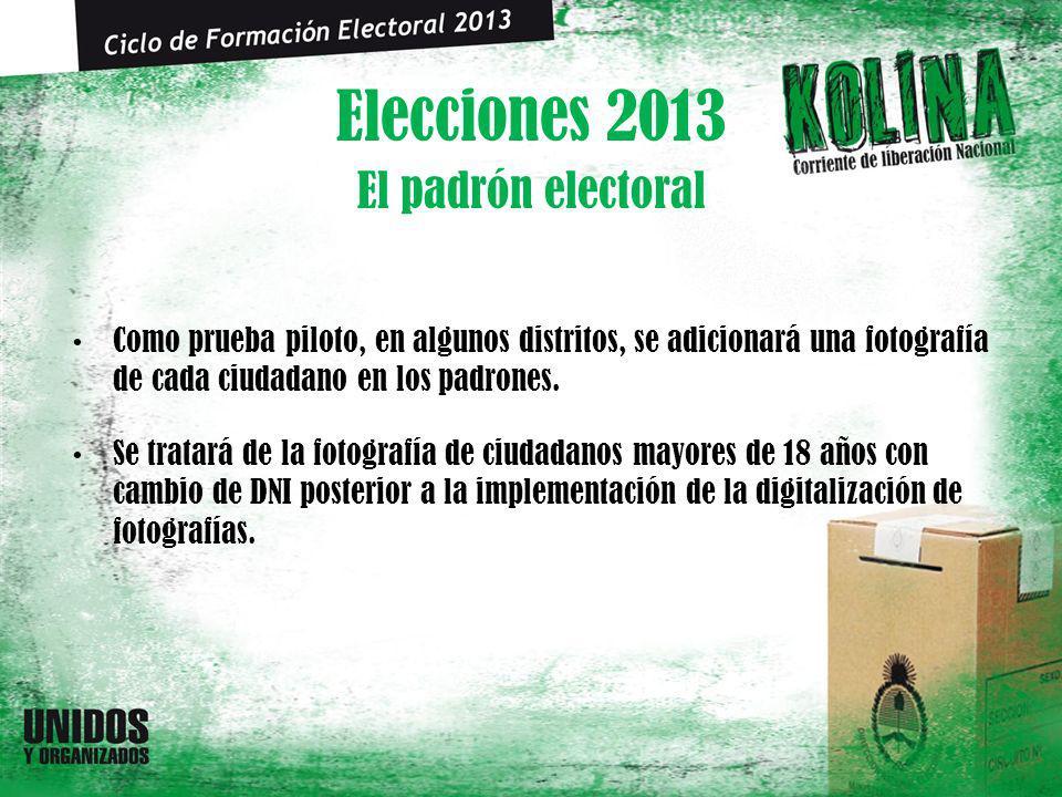 Elecciones 2013 Como prueba piloto, en algunos distritos, se adicionará una fotografía de cada ciudadano en los padrones. Se tratará de la fotografía