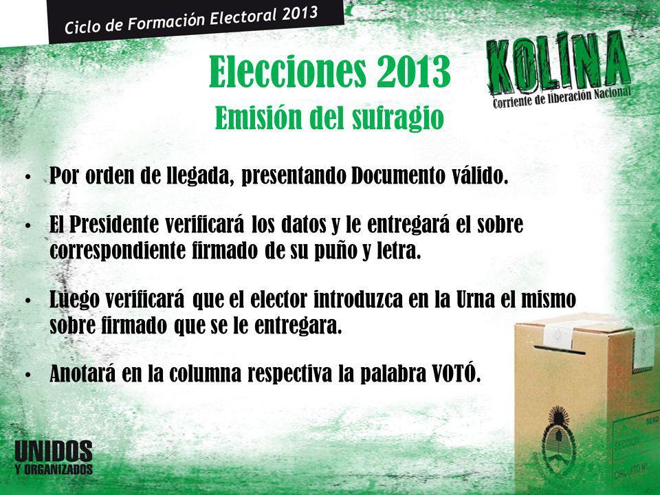 Elecciones 2013 Por orden de llegada, presentando Documento válido. El Presidente verificará los datos y le entregará el sobre correspondiente firmado