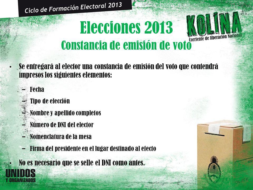 Elecciones 2013 Se entregará al elector una constancia de emisión del voto que contendrá impresos los siguientes elementos: –Fecha –Tipo de elección –