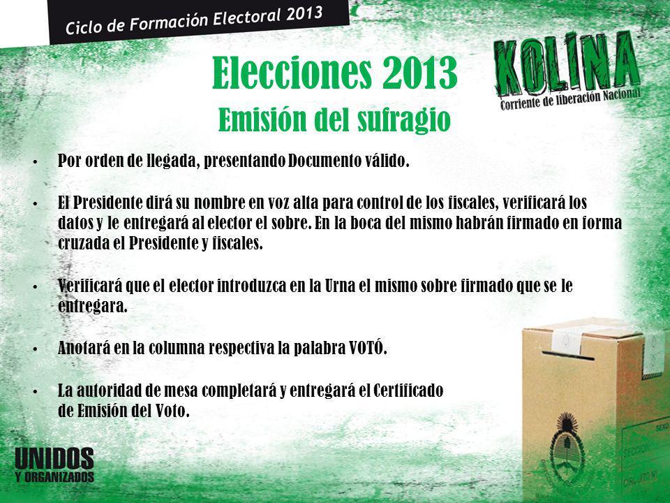 Elecciones 2013 Por orden de llegada, presentando Documento válido. El Presidente dirá su nombre en voz alta para control de los fiscales, verificará