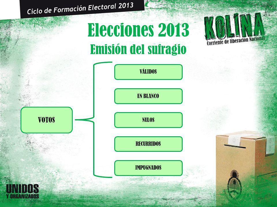 Elecciones 2013 Emisión del sufragio NULOS VOTOS IMPUGNADOS VÁLIDOS EN BLANCO RECURRIDOS