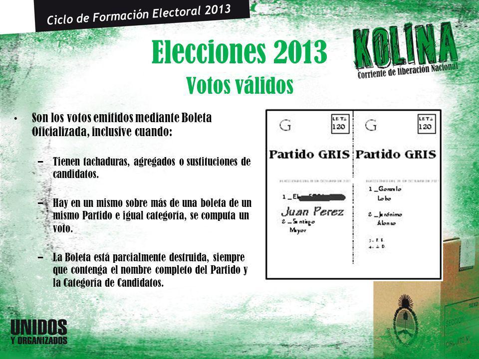 Elecciones 2013 Son los votos emitidos mediante Boleta Oficializada, inclusive cuando: –Tienen tachaduras, agregados o sustituciones de candidatos. –H