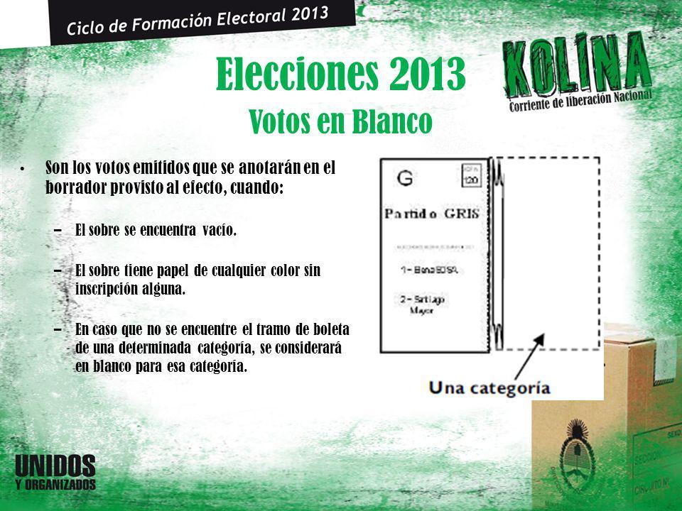 Elecciones 2013 Son los votos emitidos que se anotarán en el borrador provisto al efecto, cuando: –El sobre se encuentra vacío. –El sobre tiene papel