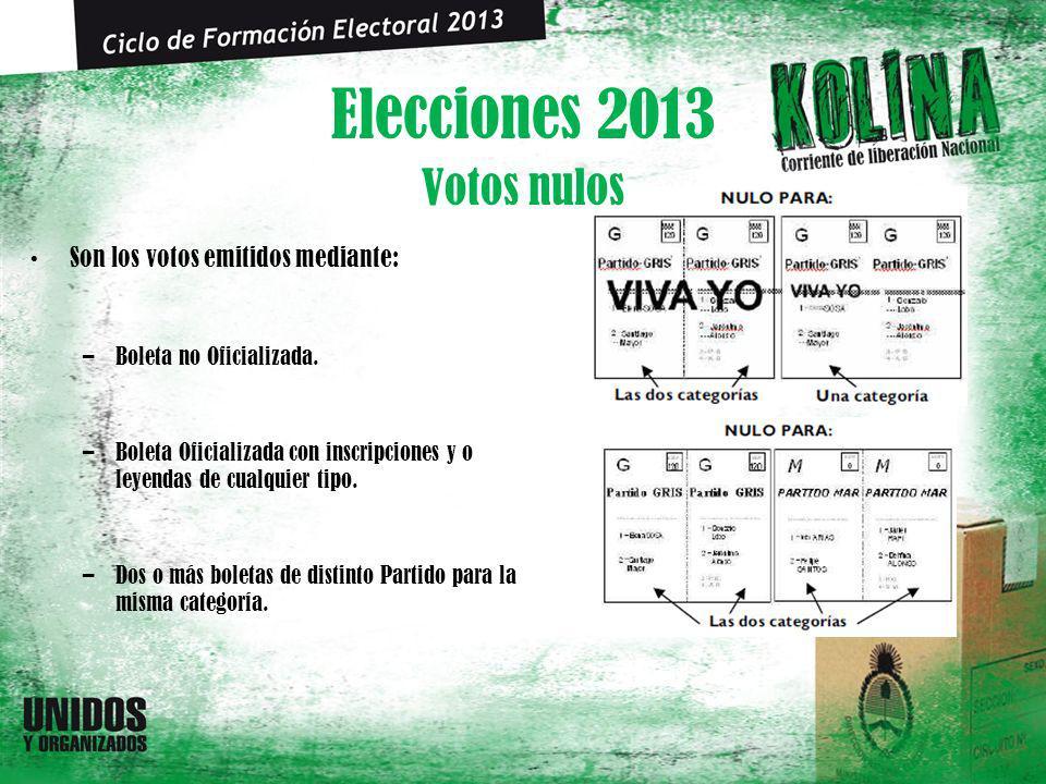 Elecciones 2013 Son los votos emitidos mediante: –Boleta no Oficializada. –Boleta Oficializada con inscripciones y o leyendas de cualquier tipo. –Dos