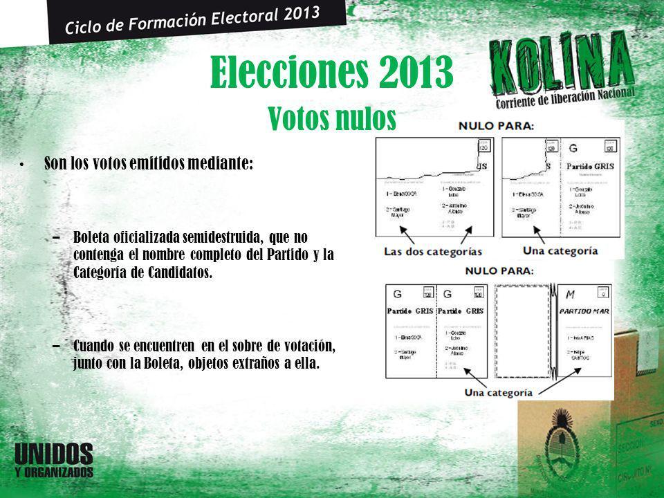 Elecciones 2013 Son los votos emitidos mediante: –Boleta oficializada semidestruida, que no contenga el nombre completo del Partido y la Categoría de