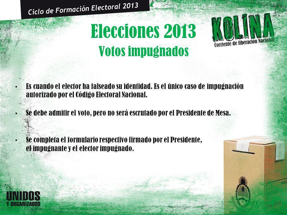 Elecciones 2013 Votos impugnados Es cuando el elector ha falseado su identidad. Es el único caso de impugnación autorizado por el Código Electoral Nac