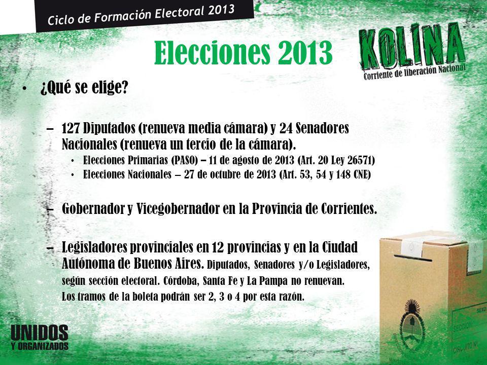 Elecciones 2013 ¿Qué se elige? –127 Diputados (renueva media cámara) y 24 Senadores Nacionales (renueva un tercio de la cámara). Elecciones Primarias