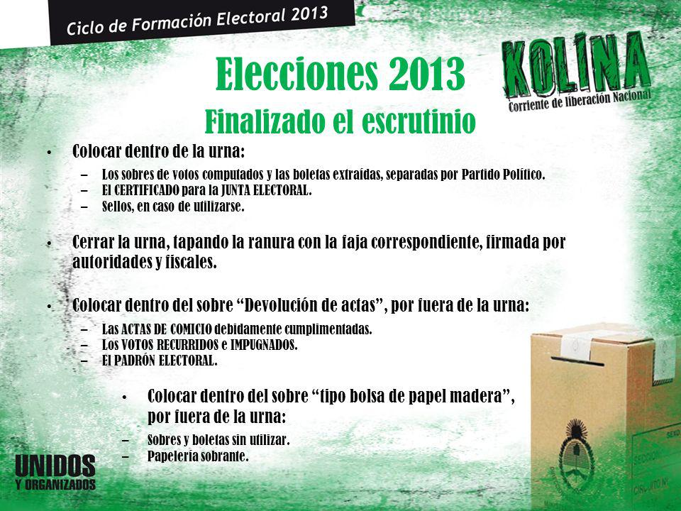 Elecciones 2013 Colocar dentro de la urna: –Los sobres de votos computados y las boletas extraídas, separadas por Partido Político. –El CERTIFICADO pa