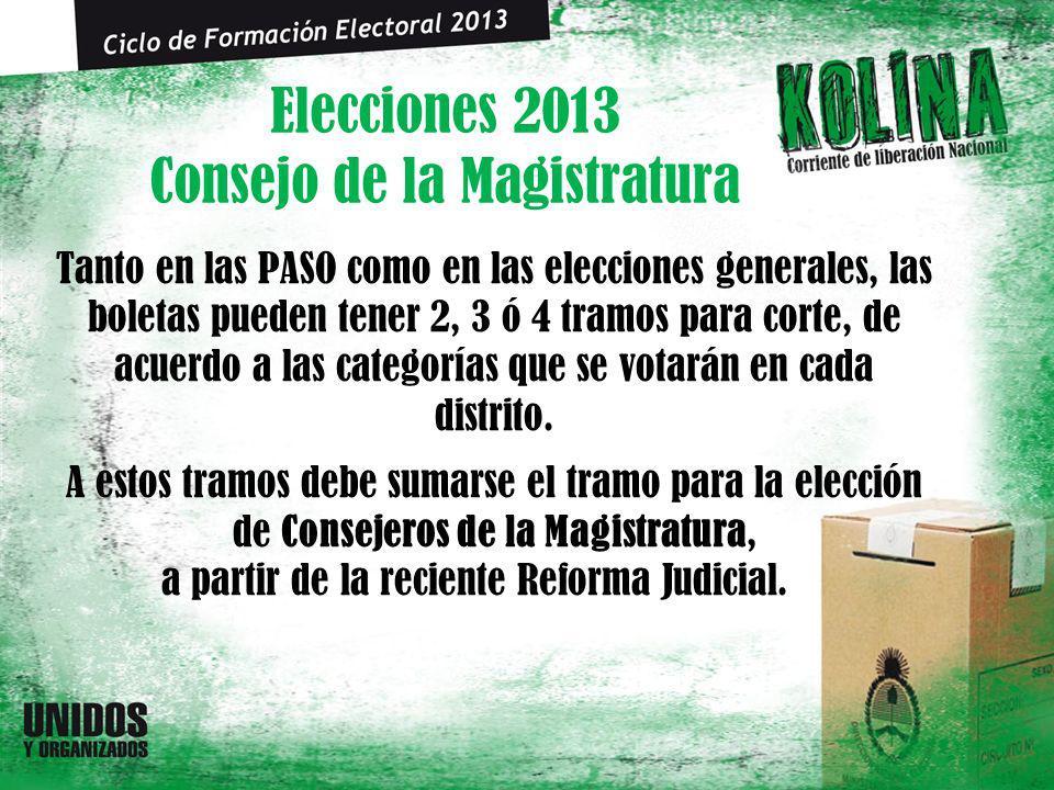Elecciones 2013 Consejo de la Magistratura Tanto en las PASO como en las elecciones generales, las boletas pueden tener 2, 3 ó 4 tramos para corte, de acuerdo a las categorías que se votarán en cada distrito.